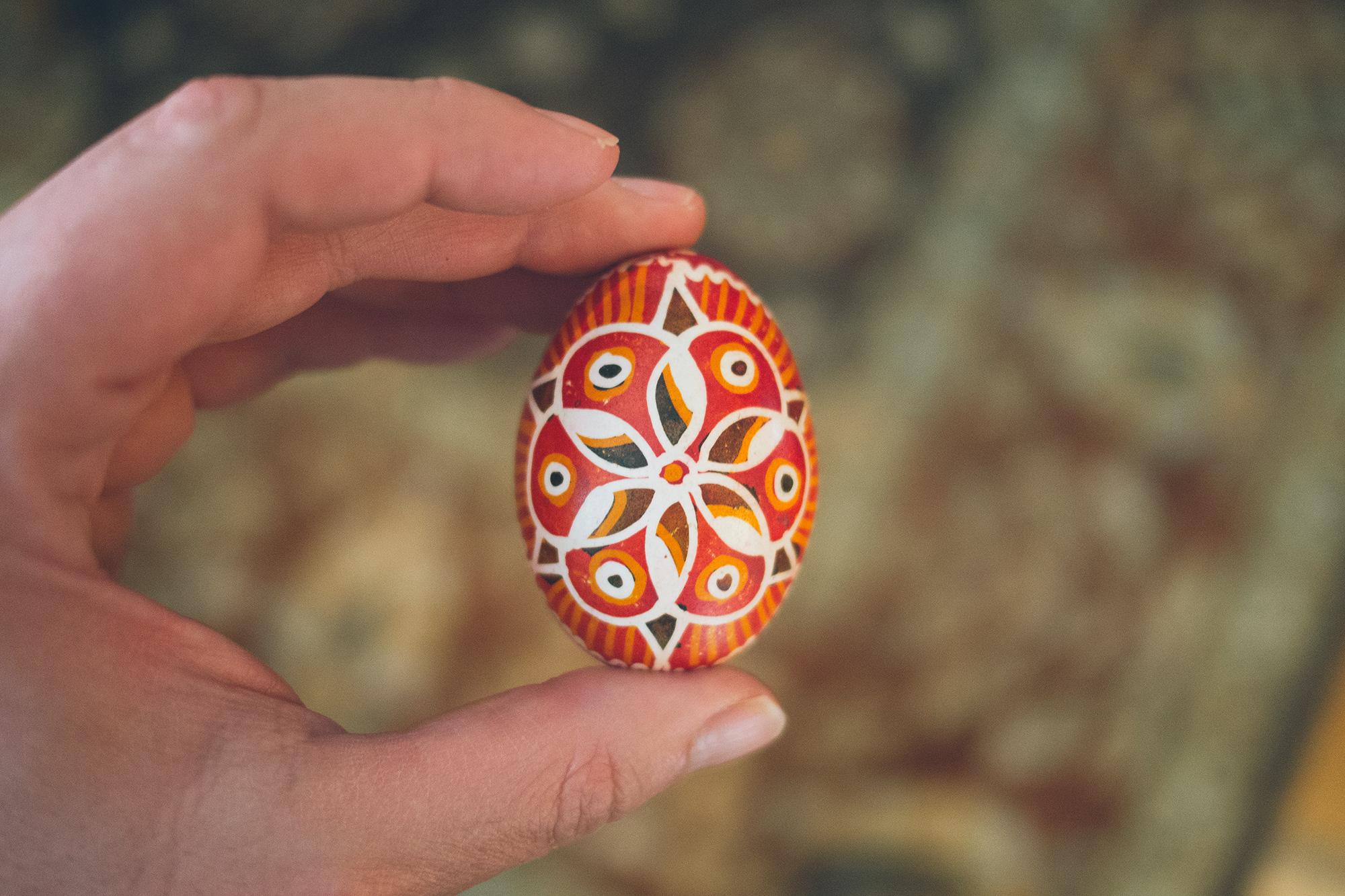 A man holding an Easter egg