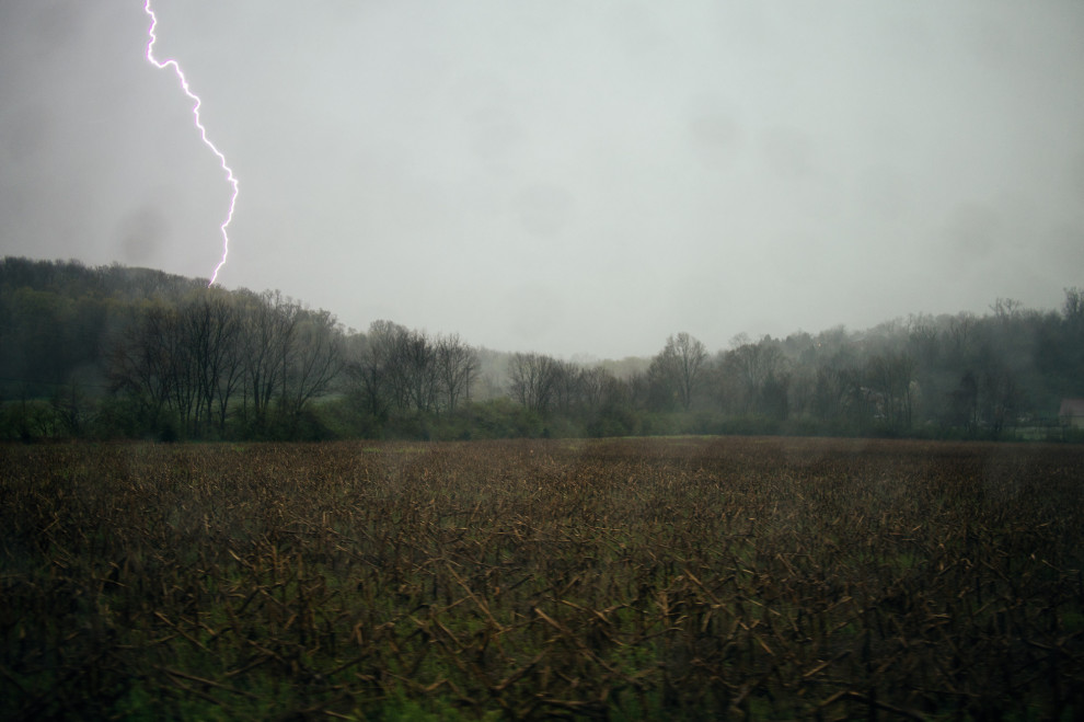 Lightning, caught while driving