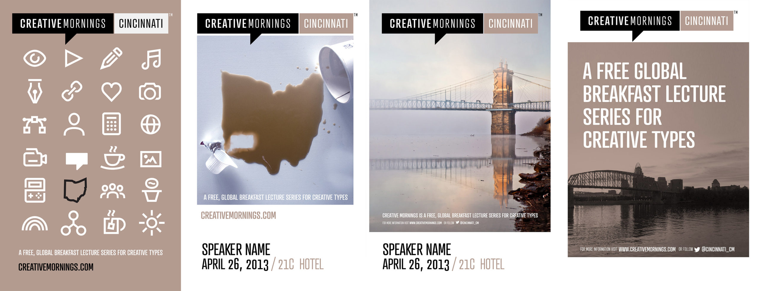 Creative Mornings Poster Concepts for Cincinnati