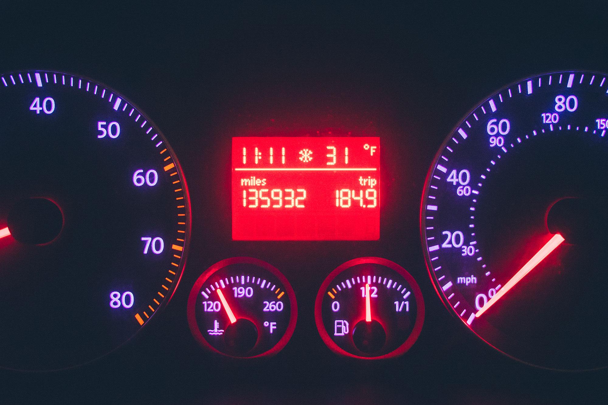 dashboard of car at night
