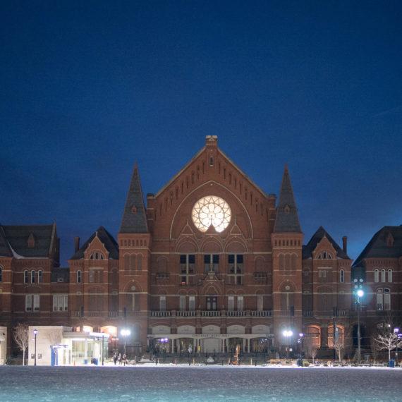 A beautiful building at night in Cincinnati Ohio