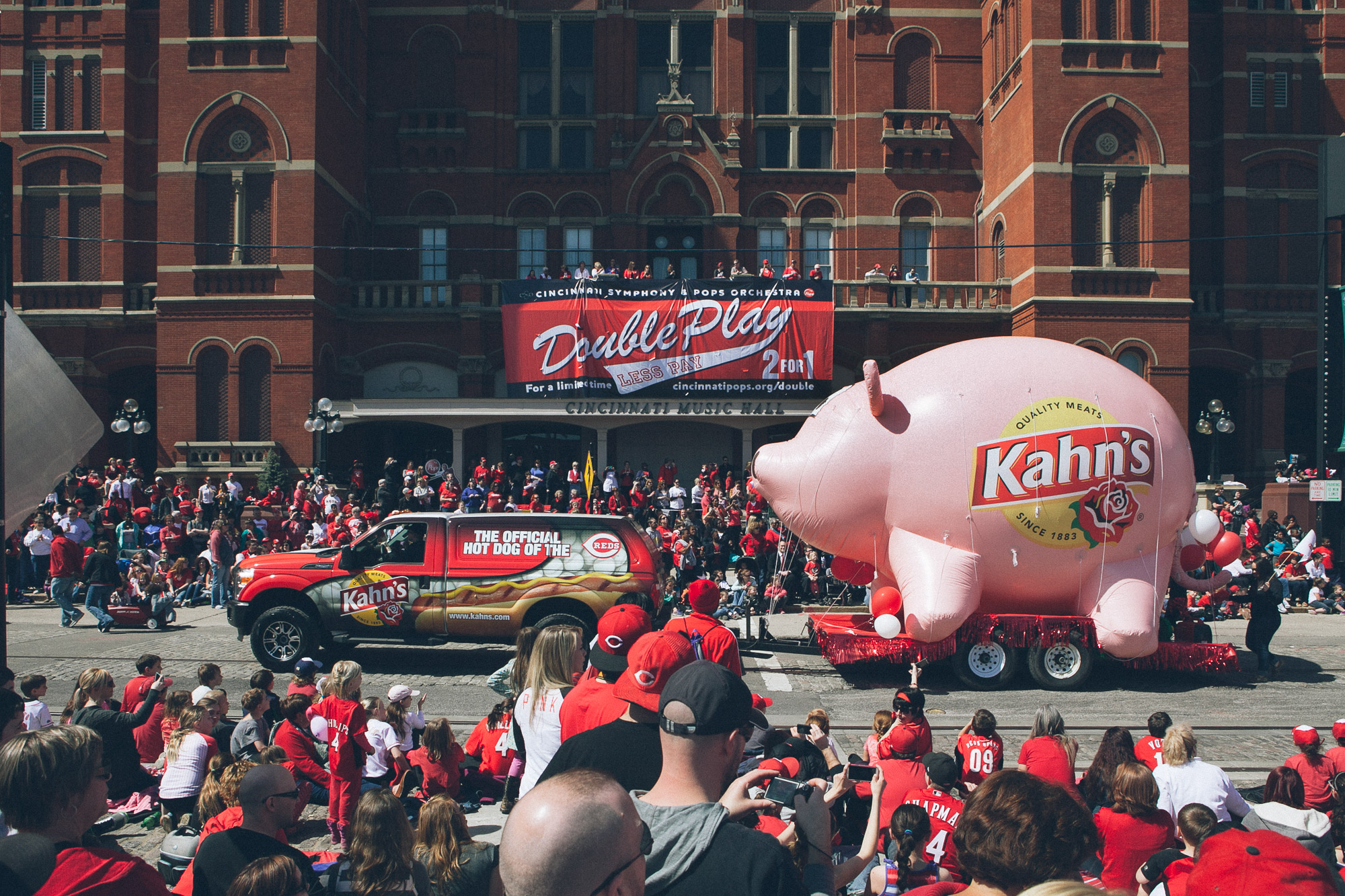 A large pig float in a parade