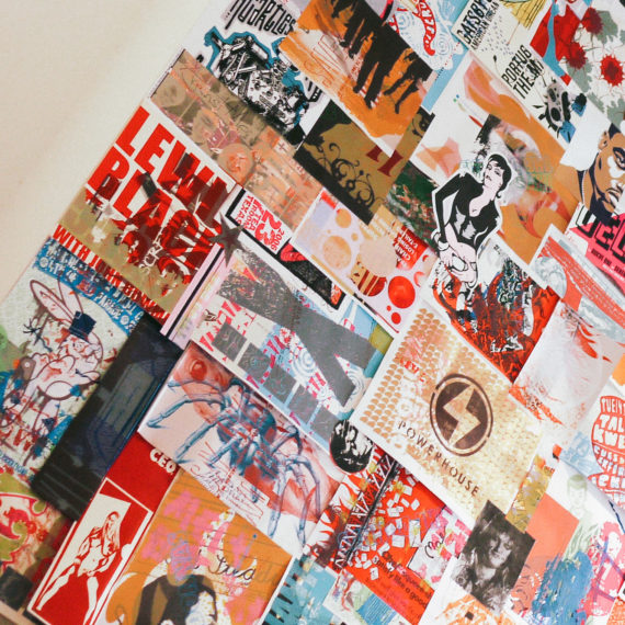 Layers of screen printed concert posters