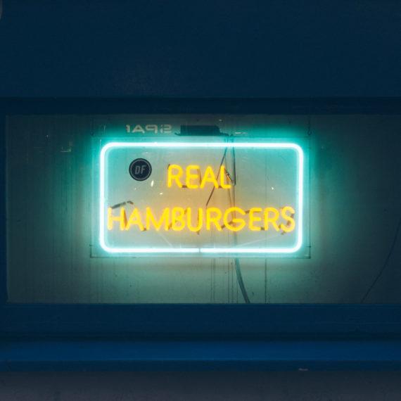 Real Hamburgers neon sign
