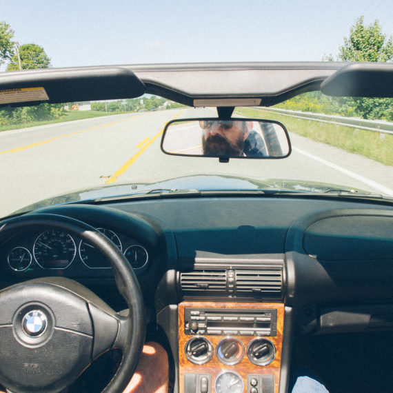 First person view, driving a BMW convertible