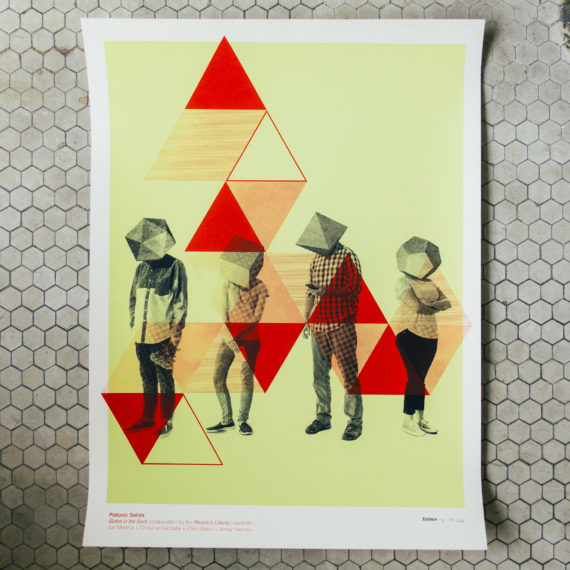 A yellow and red poster with four people that have geometric solids for heads