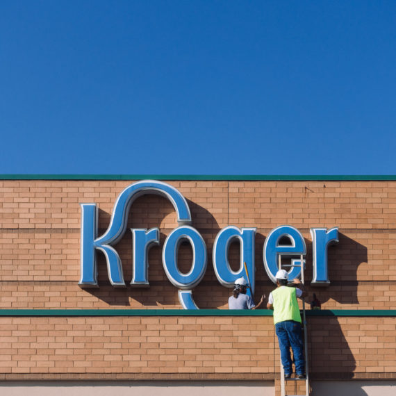 Working on a Kroger sign
