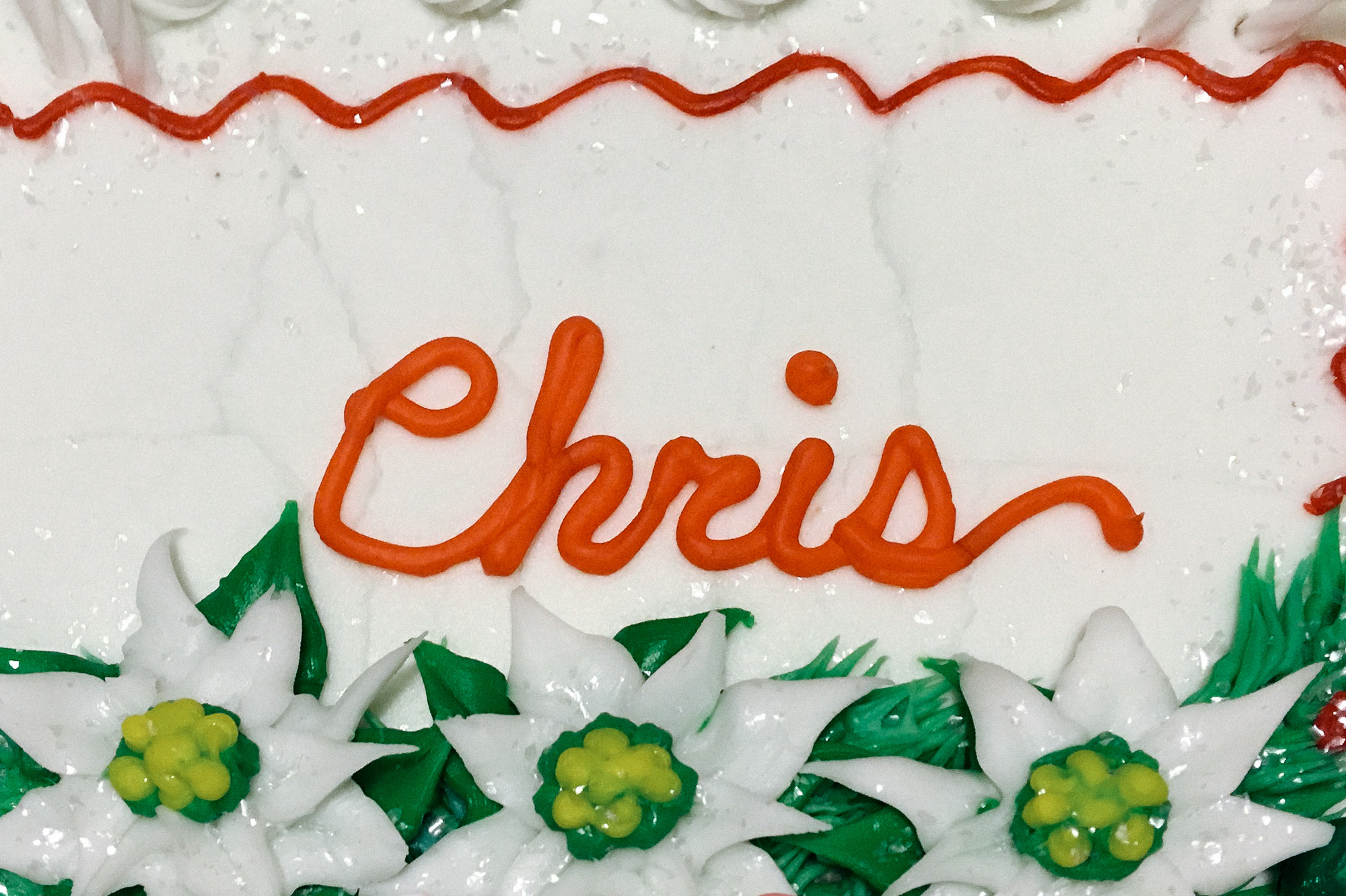 Chris in icing on a cake