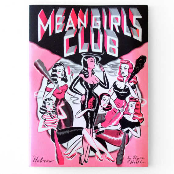 A comic book with pink and black ink