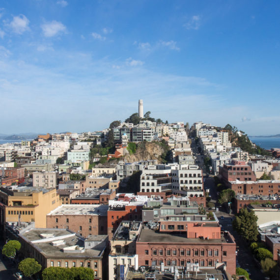 A view of Coit Tower in San Francisco on a sunny day