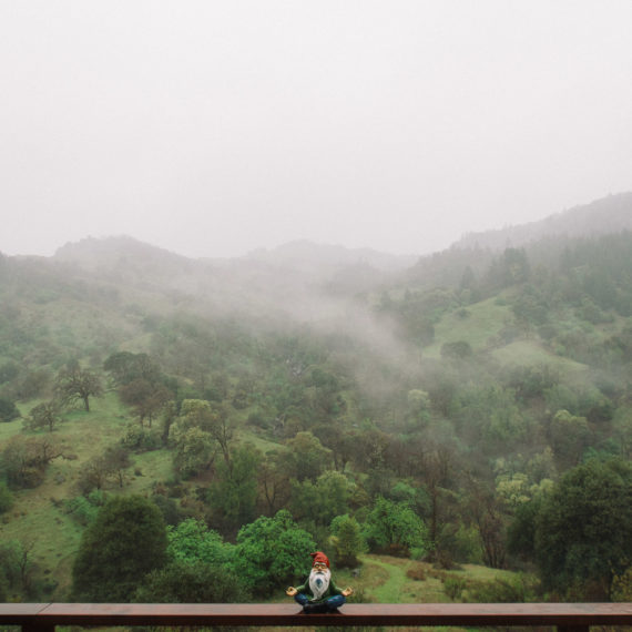 A garden gnome and green hills in the mist