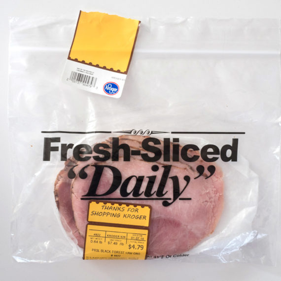 Lunch meat with pricing sticker