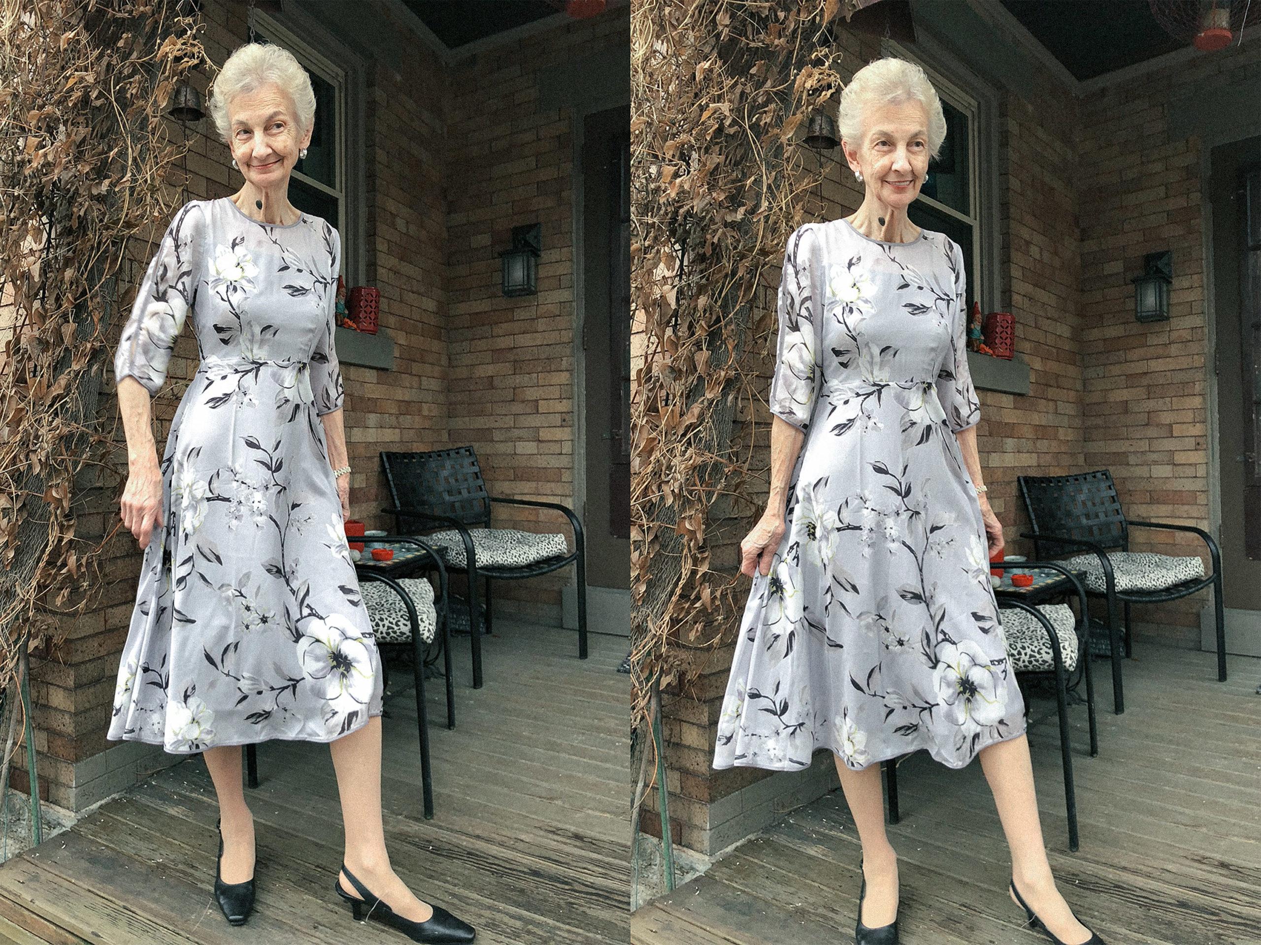 Woman wearing a floral print dress