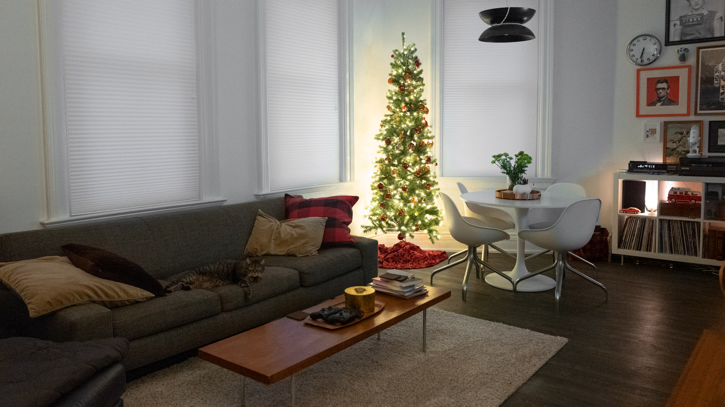 Christmas tree with cat on couch