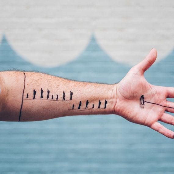 A hand drawn temporary tattoo as art