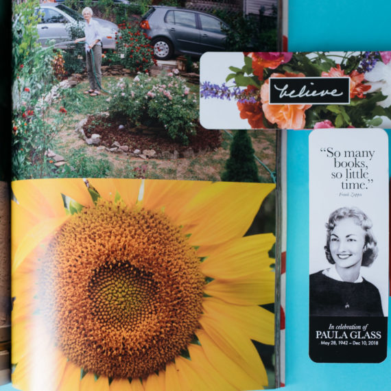 Mementos from a life celebration: a photo book, bookmark, seeds