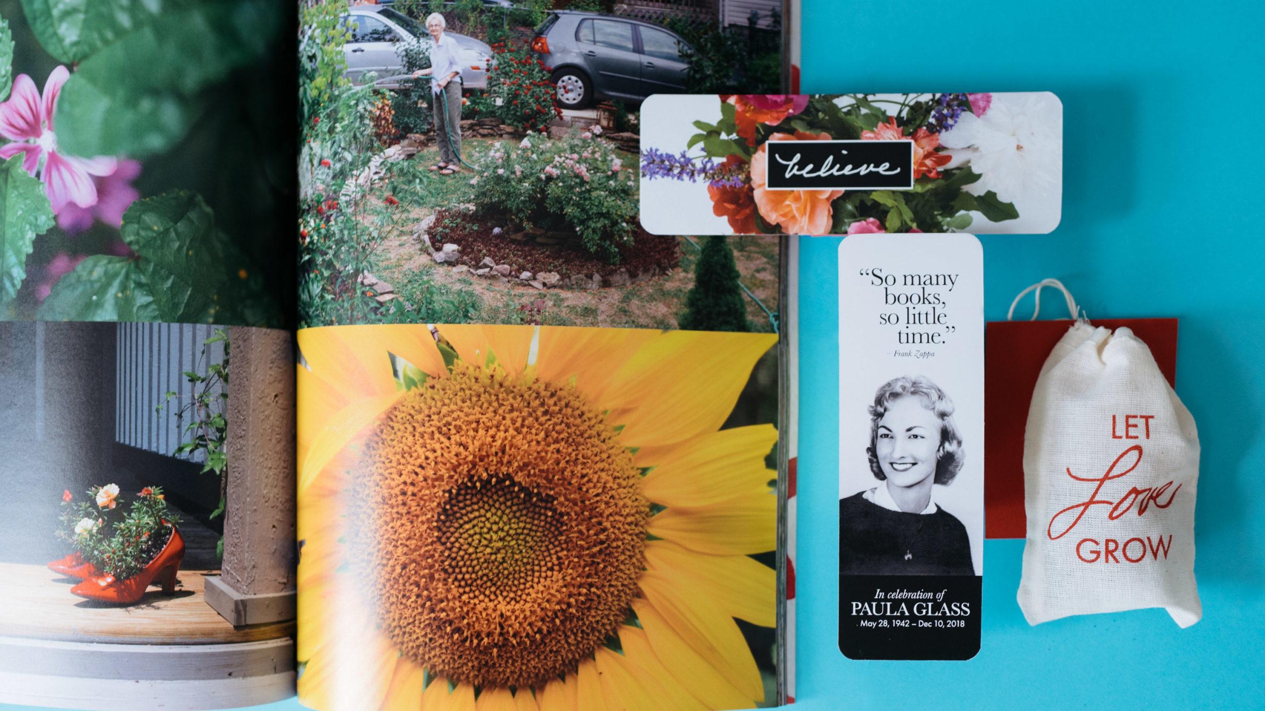 Mementos from a life celebration: a photo book, bookmark, seeds