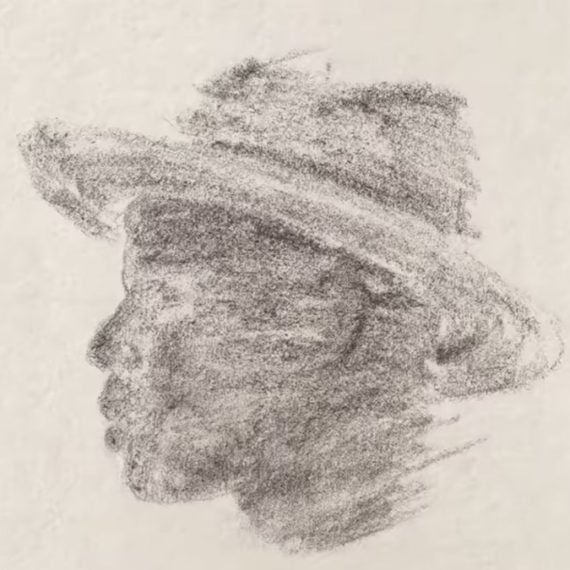 Silhouette of a man with a hat done in charcoal