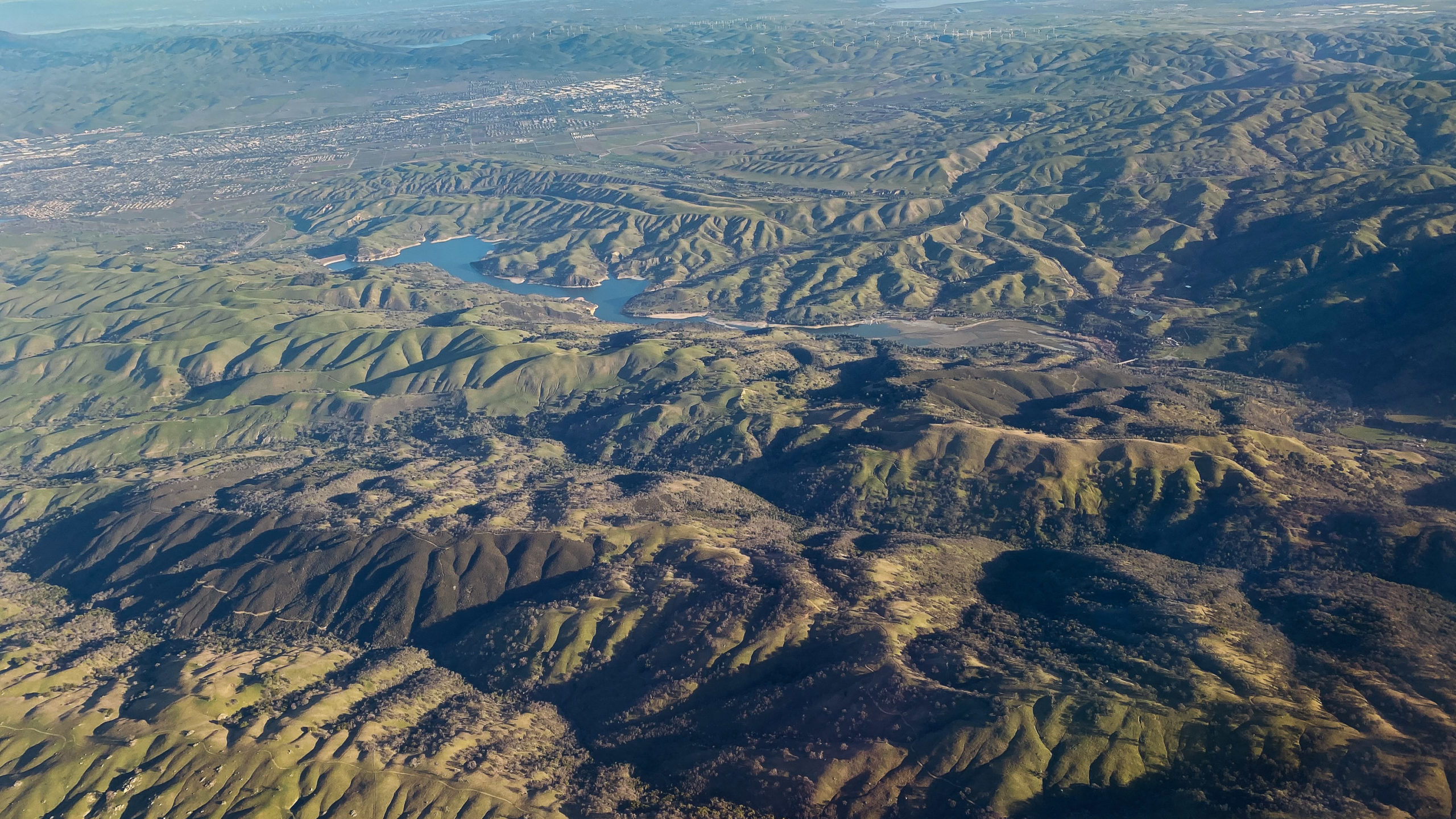 view from plane of California foothills
