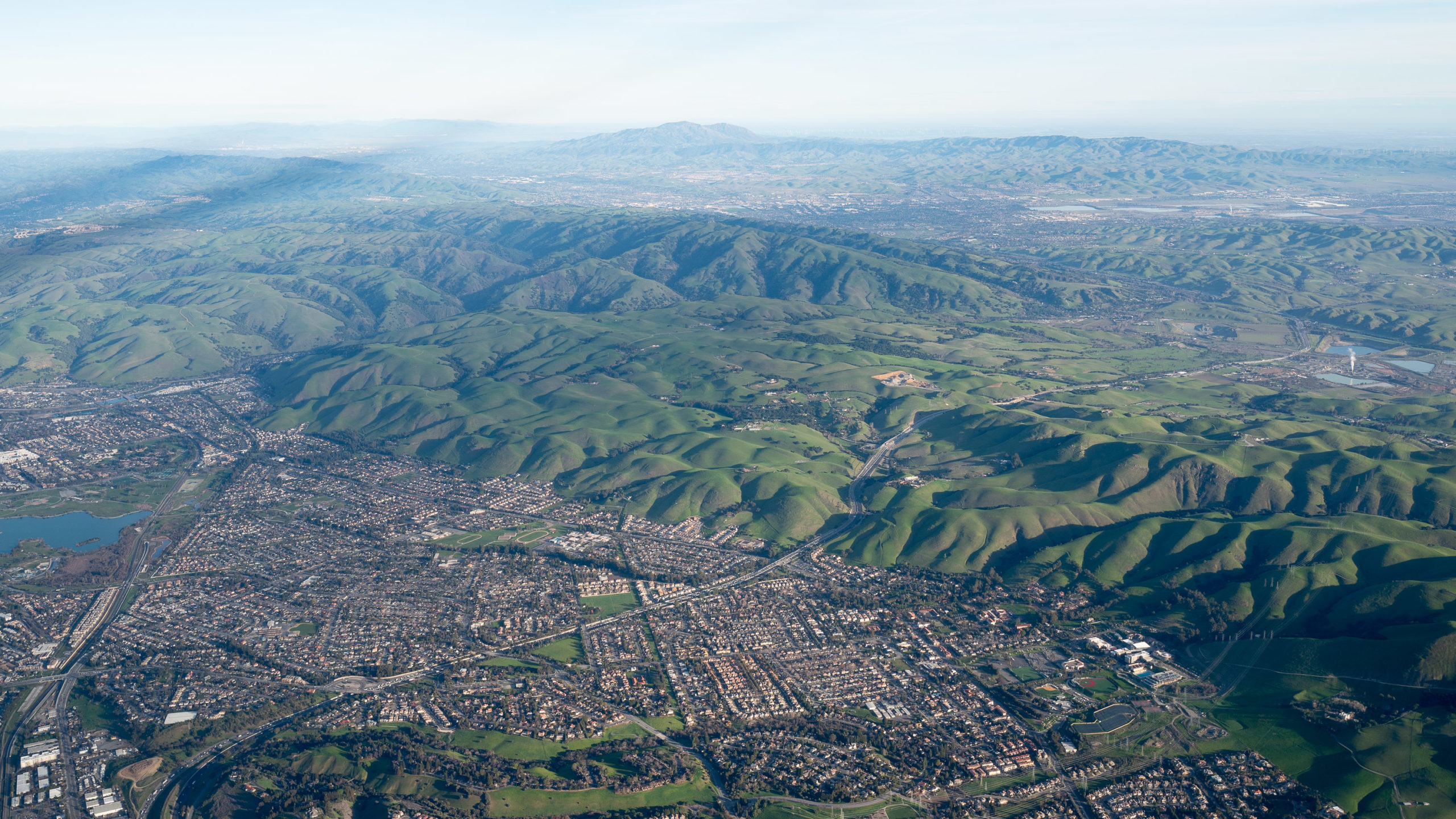 view from plane of California foothills and suburbs