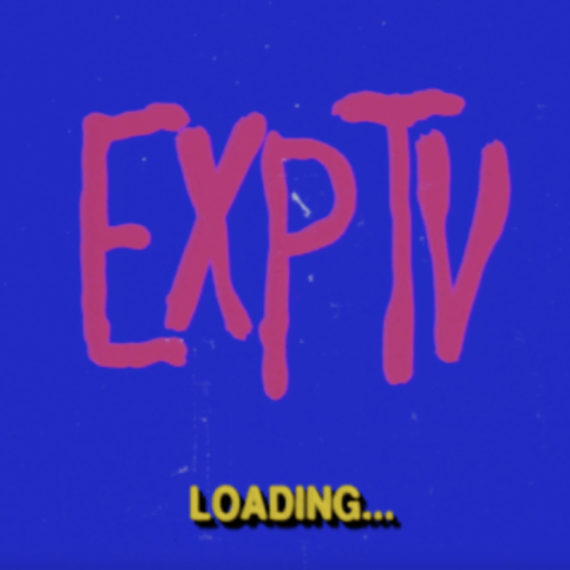 Pink type that reads exptv on a blue background