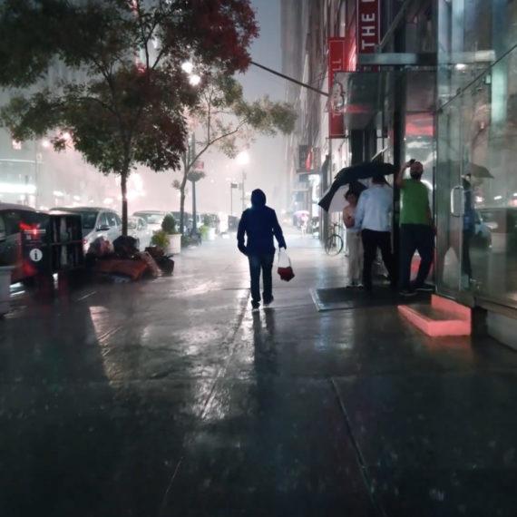 walking at night in the rain in NYC