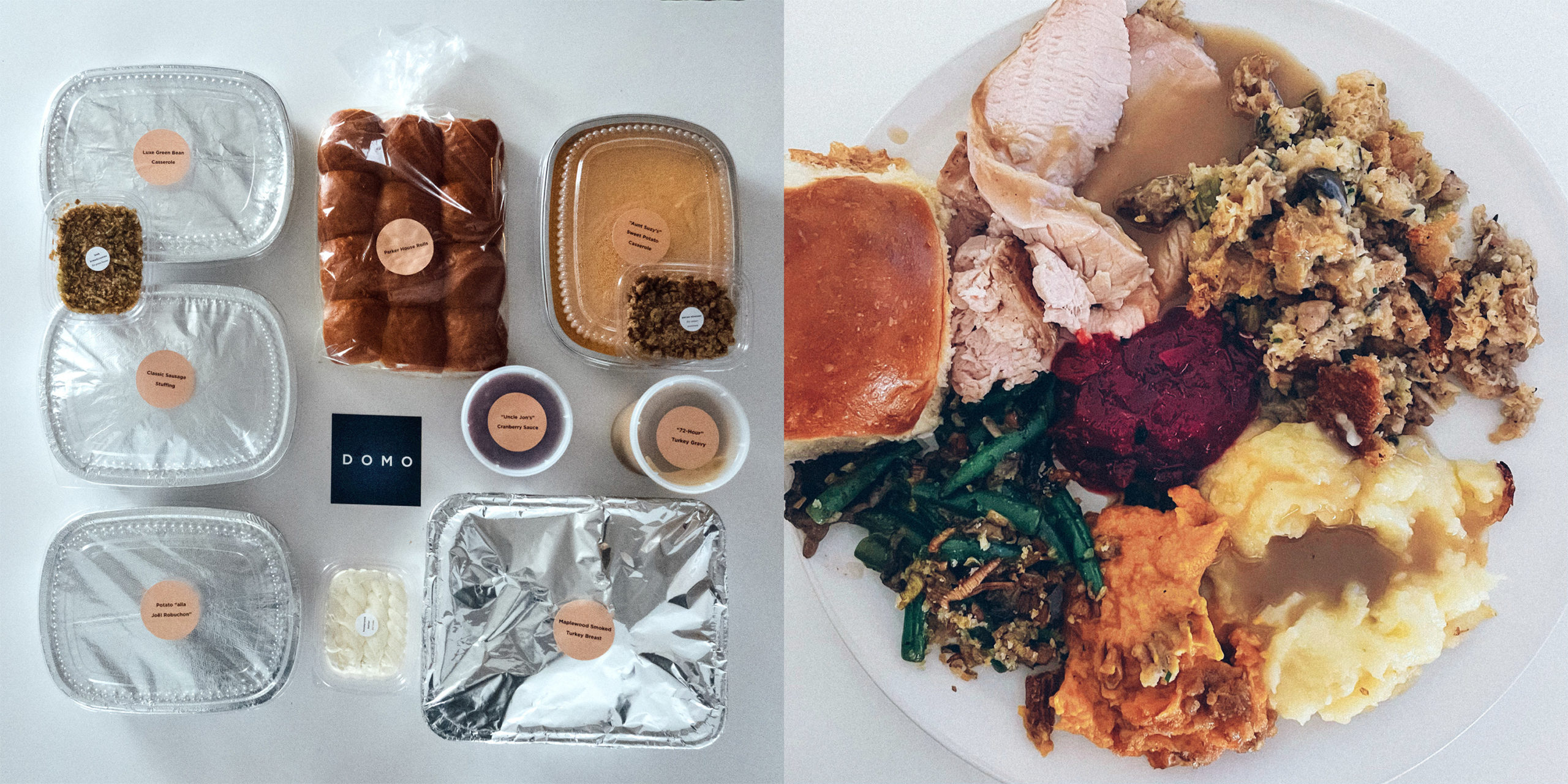 A prepared Thanksgiving meal and the completed meal