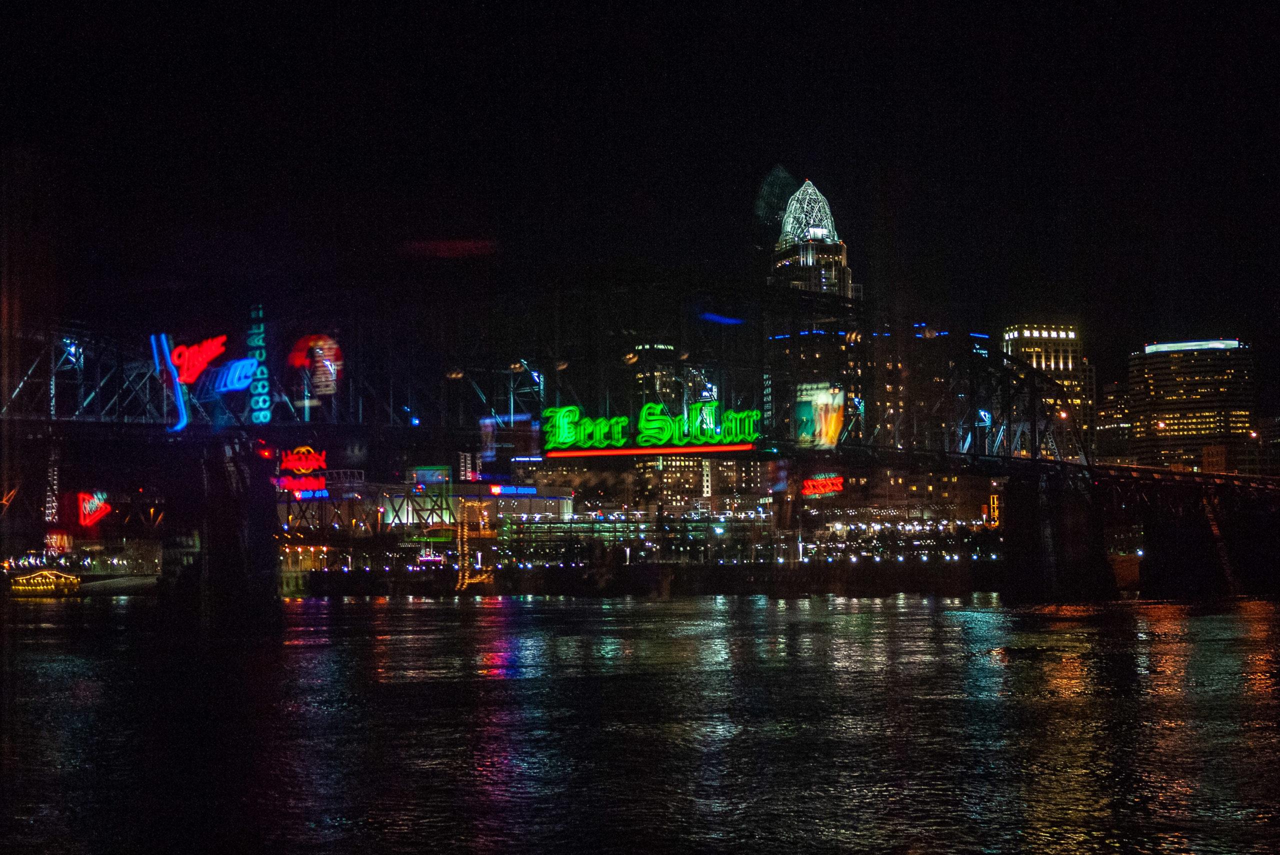 Cincinnati at night as viewed from the Beer Sellar in Newport, Kentucky
