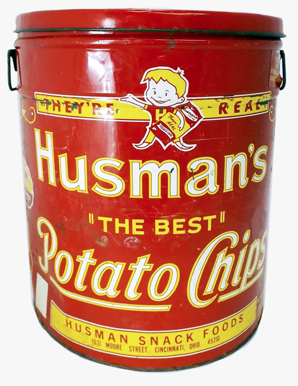 A very large can of potato chips by the Husman brand