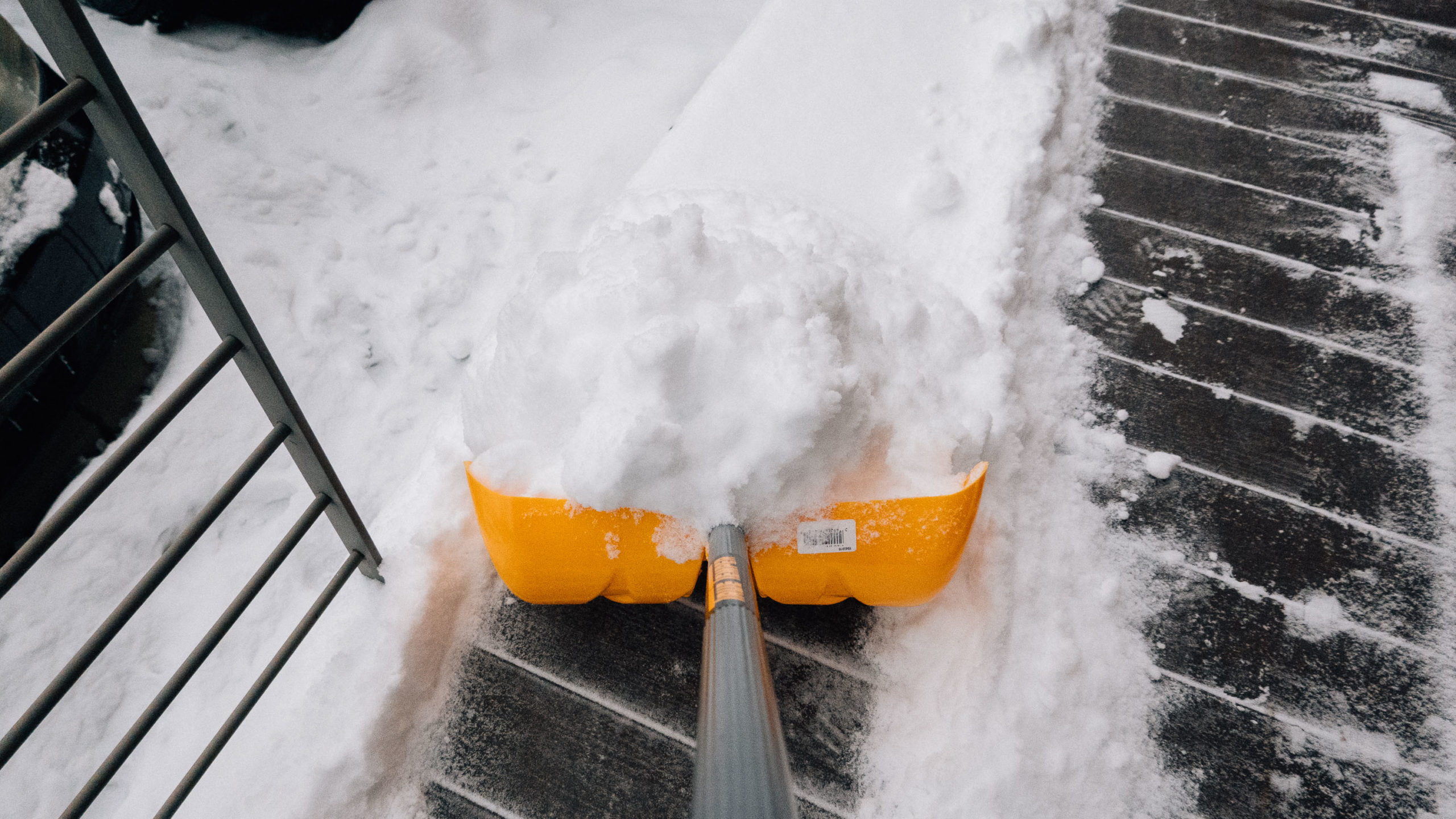 First person view shoveling snow