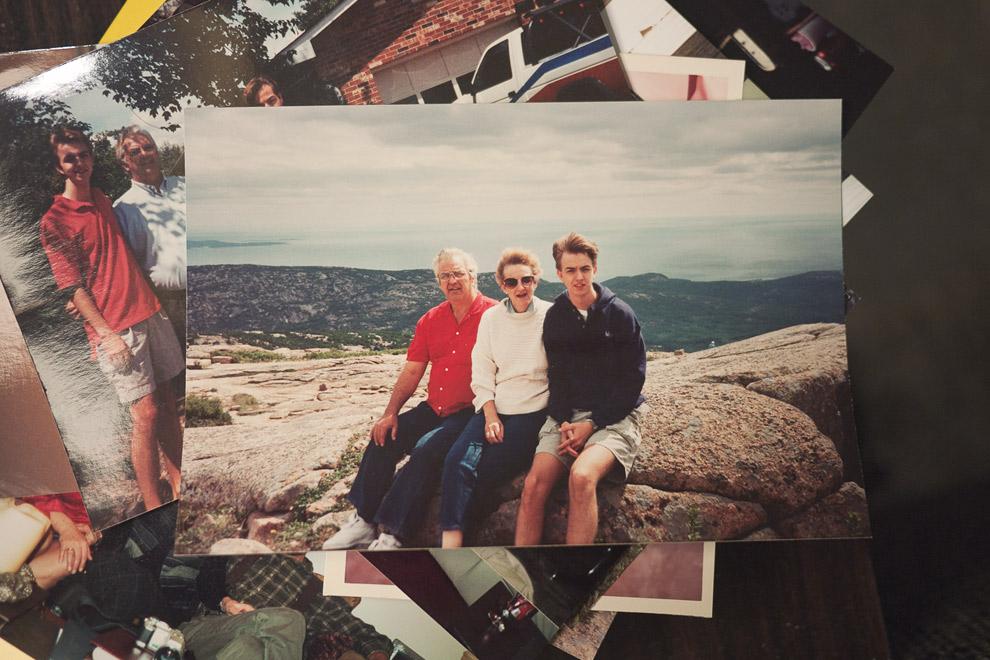 Snapshot of a man, woman and teenage son at Acadia National Park