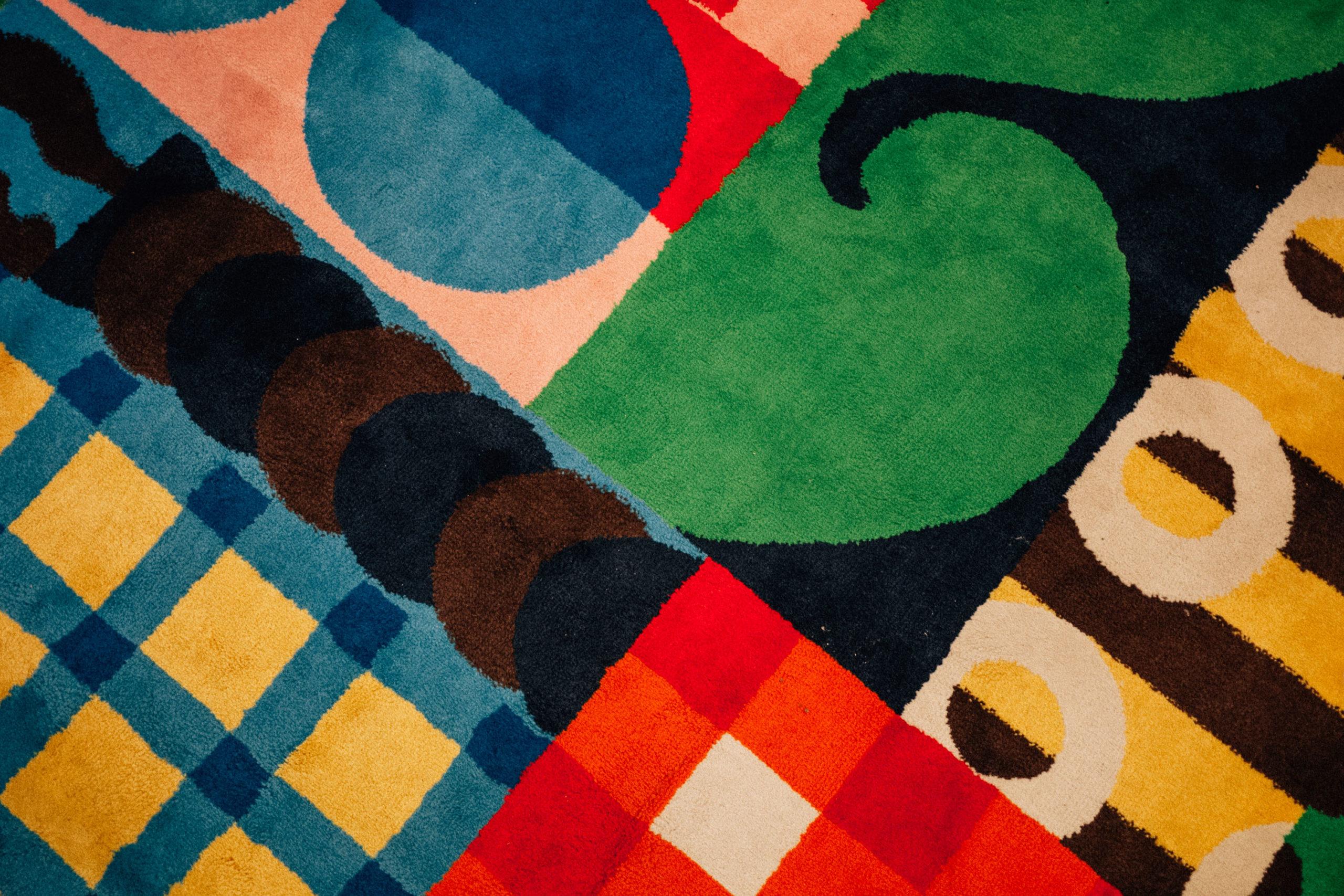 Colorful geometric IKEA rug