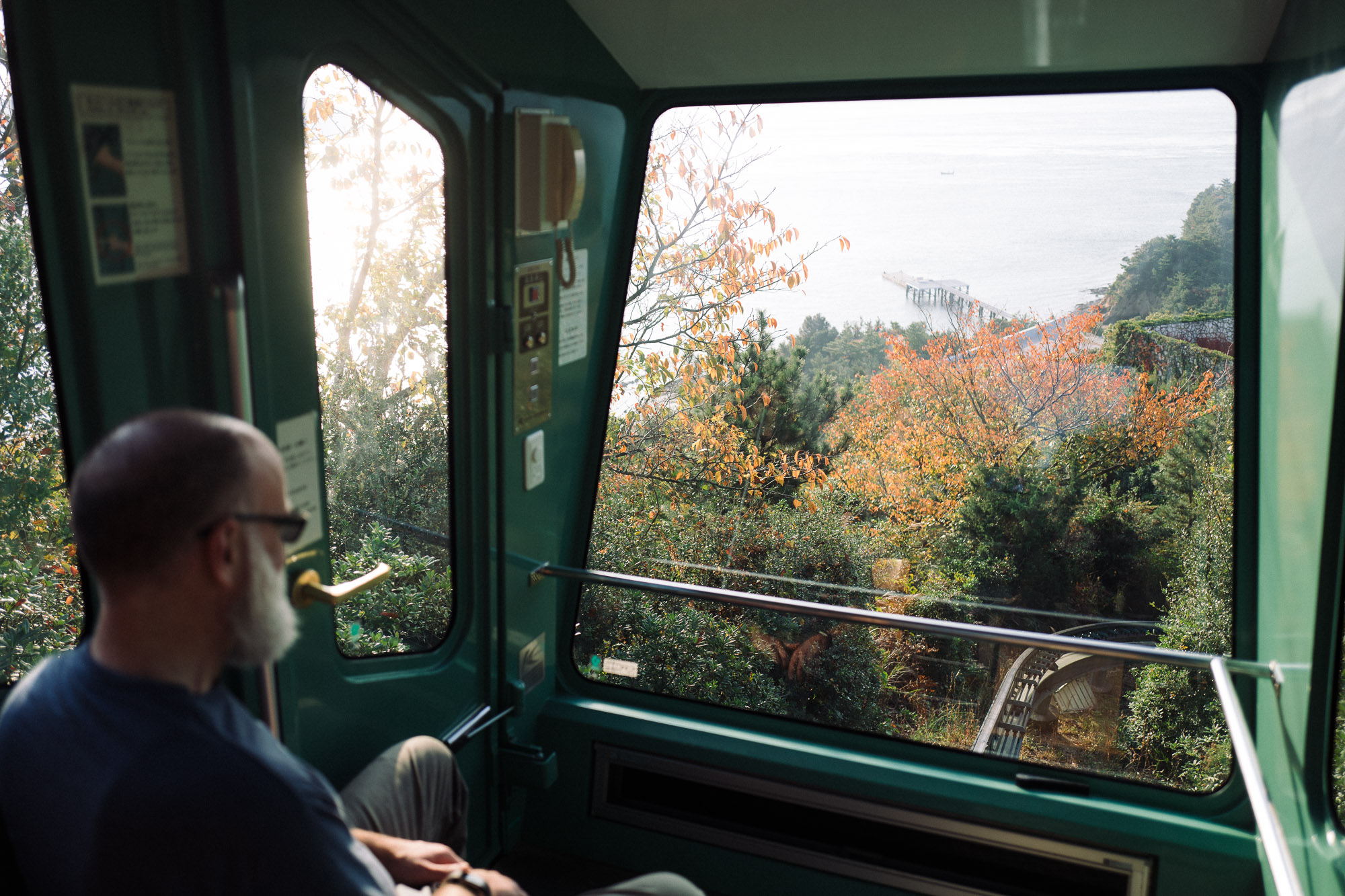 Inside the funicular