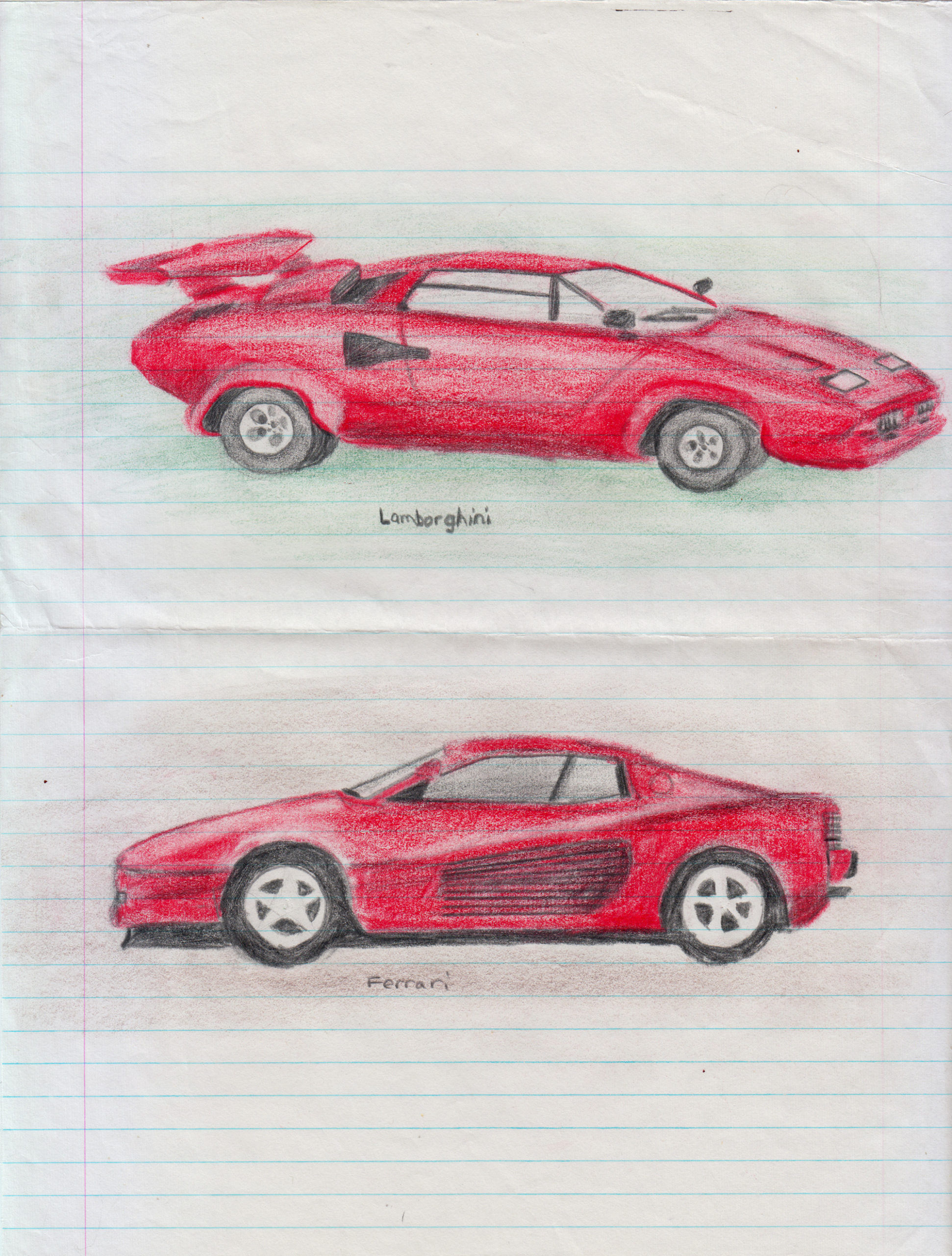 Drawings of sports cars