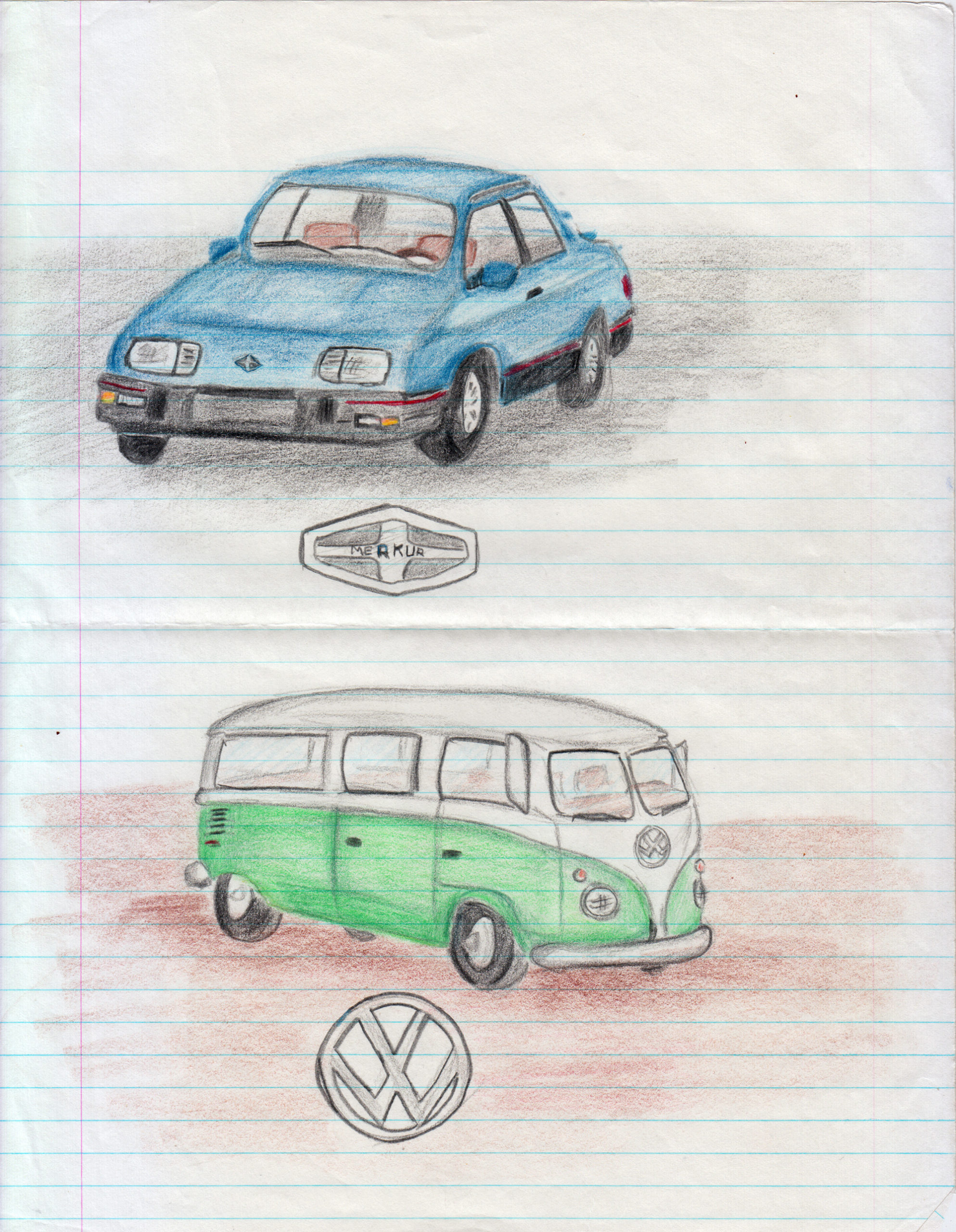 A colored pencil drawing of a Merkur XR4TI and a VW Microbus
