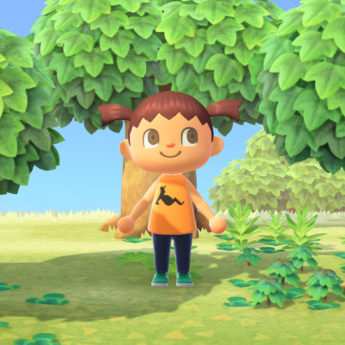 Animal Crossing character with pigtails, bright big eyes and a smile, surrounded by trees