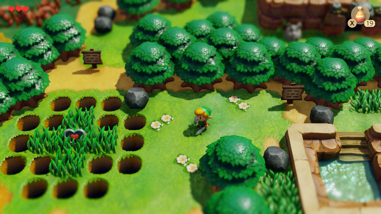 Link stands in a field surrounded by trees and shrubberies