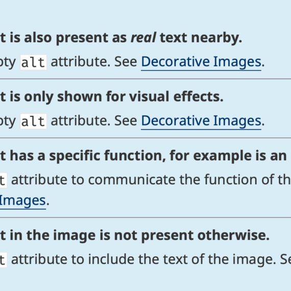 A snippet of the decision tree to write better alt text for images