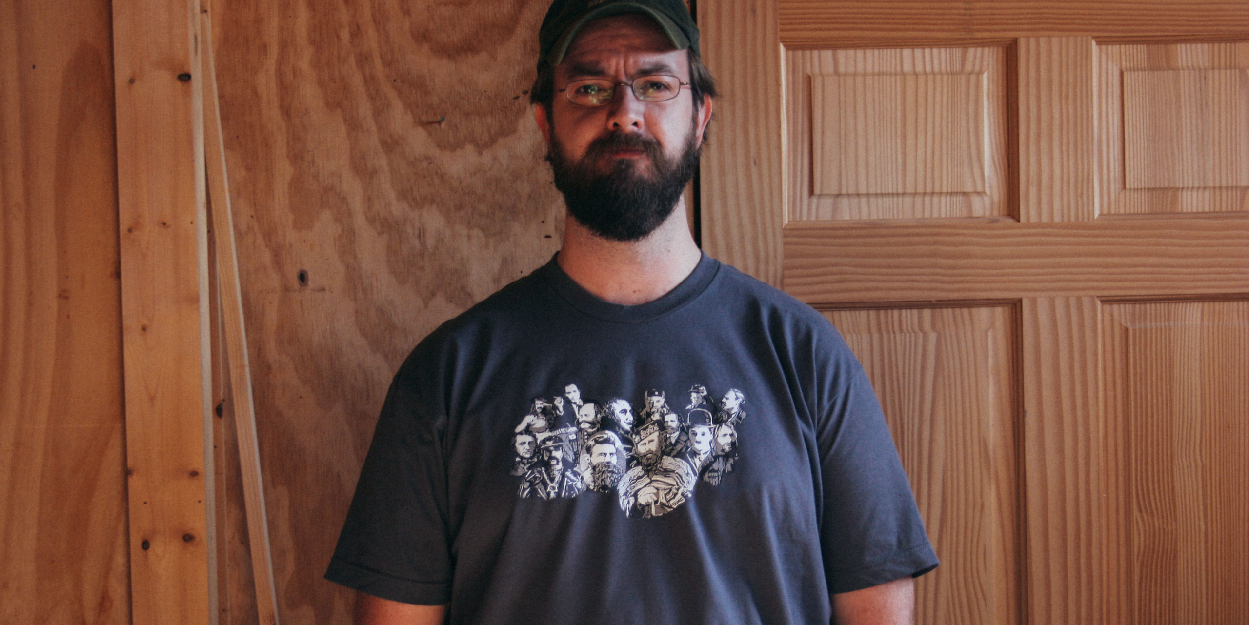 Chris Glass wearing the Beardshirt