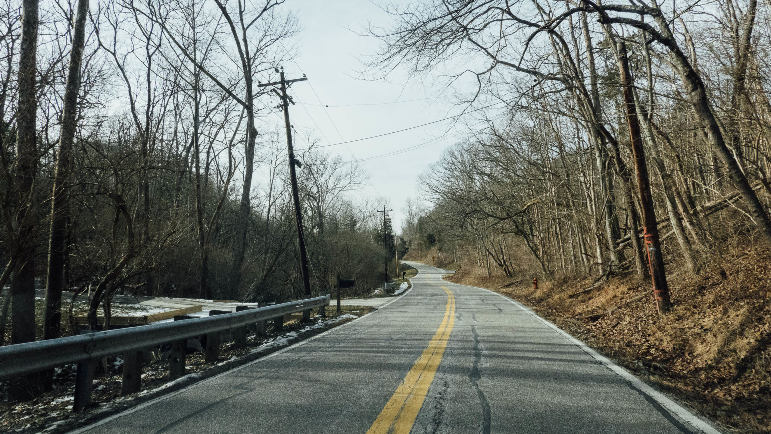 Winding country road in winter