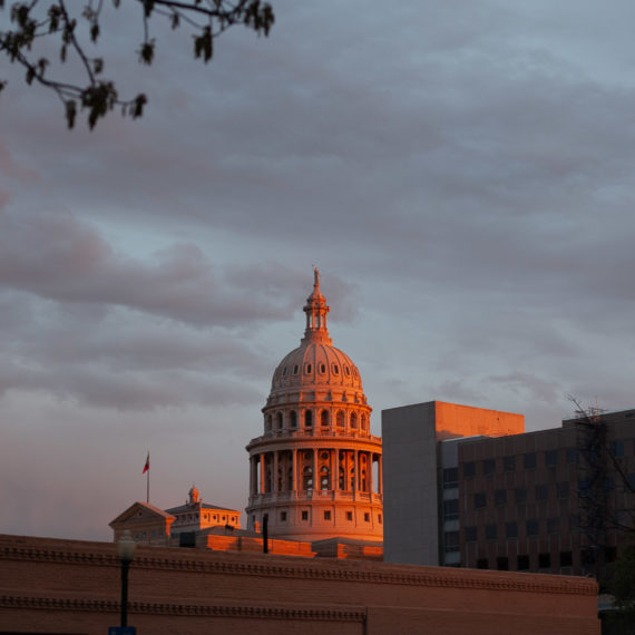 The capital building in Austin, Texas at dusk