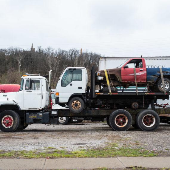 Truck on truck on truck