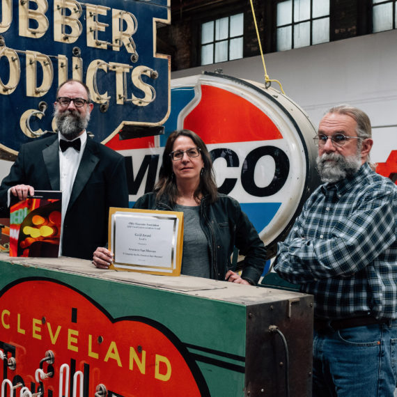 Award winners at a sign museum