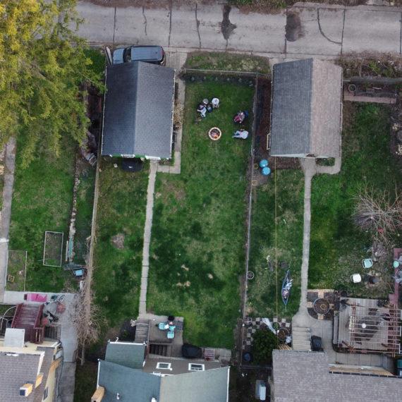 a backyard shot overhead by drone