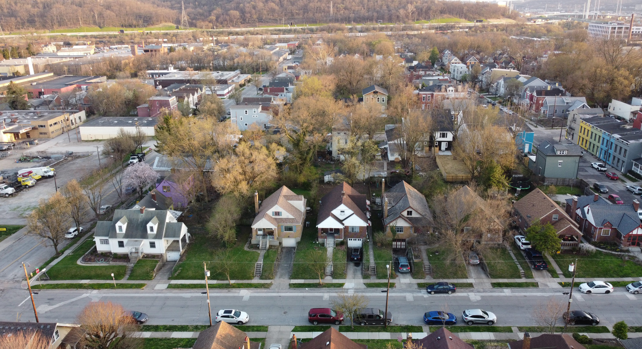 Quaint neighborhood in springtime, captured by drone