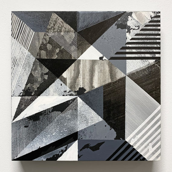 A black and white geometric painting