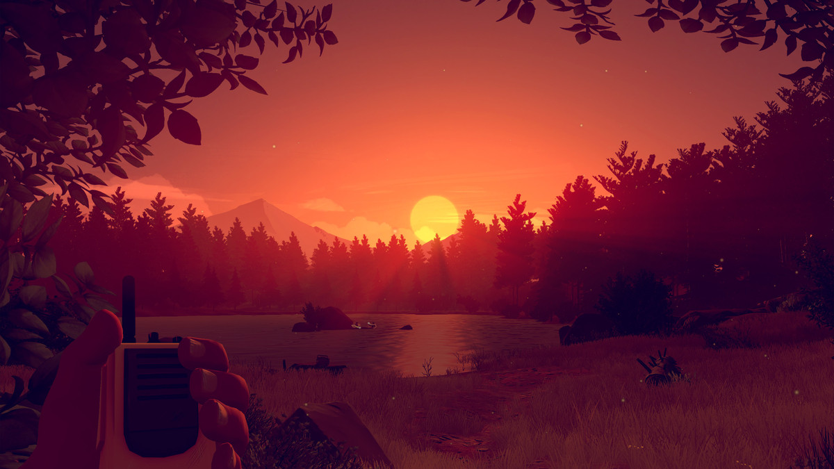 A sunset in a videogame
