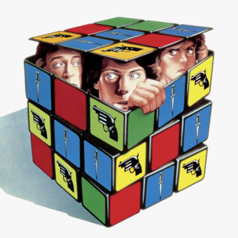 An illustration of 3 actors in a box shaped like a Rubik's cube