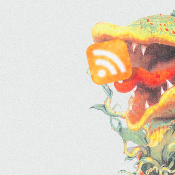 An illustration of a plant eating an RSS icon