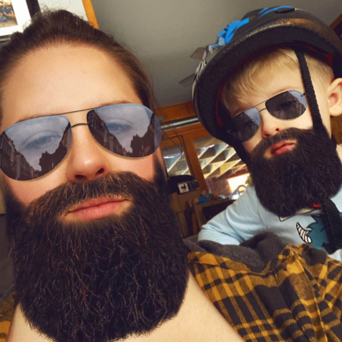Gabe and Brayden, with beard